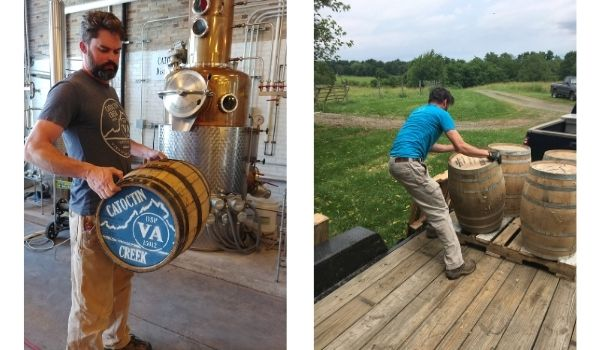 Snaps of the Catoctin Creek Distillery Life, Photo credit (left): Catoctin Creek Distillery, Photo credit (right): Edward Harris.