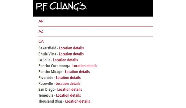 PF Chang's Website